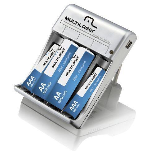Carregador Pilhas + 2 Aa 2 Aaa Saída USB Multilaser - Cb073