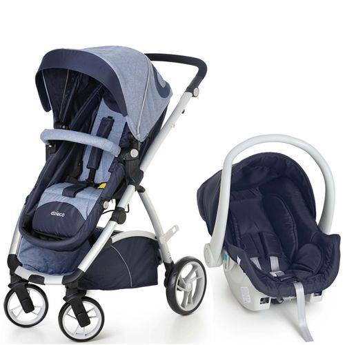 Carrinho de Bebe Dzieco Maly Azul + Bebe Conforto Cocoon