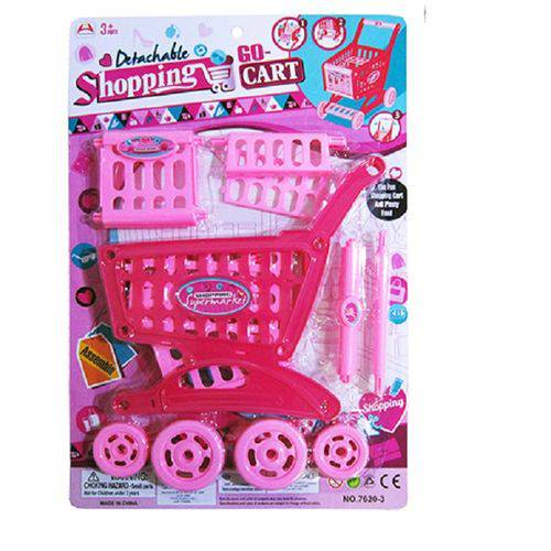 Carrinho de Supermercado Infantil Rosa Luxo Shopping