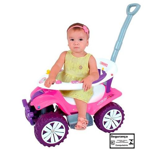 Carrinho e Andador Rosa e Roxo Sofy Car com Empurrador Biemme