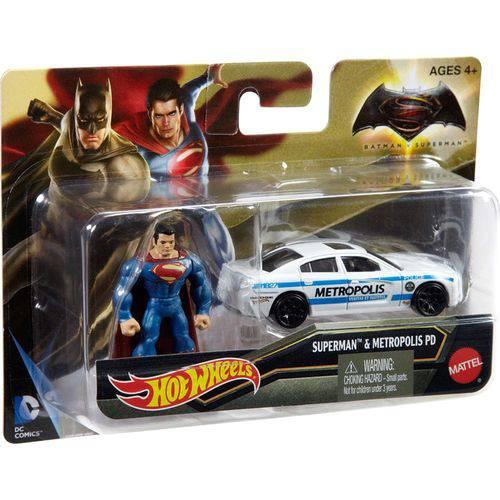 Carrinho Hot Wheels Batman Vs Superman Mini Figura e Veiculo - Superman Djh29