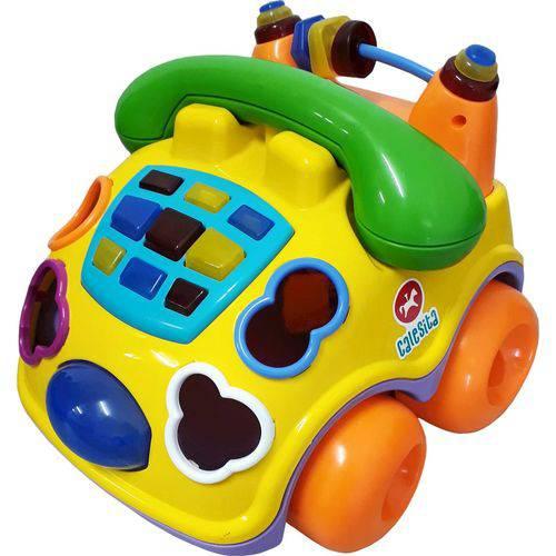 Carrinho Pedagógico Calesita Musical Falafone - 6 Acessórios - Amarelo/verde/laranja