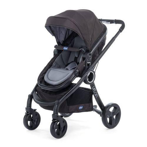 Carrinho Urban Plus + Cadeira Auto Fix Fast + Adaptador Chicco Black