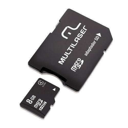Cart?o de Mem?ria Multilaser Mc004 Micro Sd 8gb com Adaptador Sd