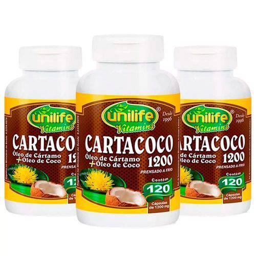 Cartacoco Óleo de Cártamo e Coco 1200mg - 3 Un de 120 Cápsulas - Unilife