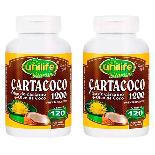 Cartacoco Óleo de Cártamo e Coco 1200mg - 2 Un de 120 Cápsulas - Unilife