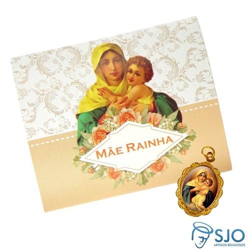 Cartão com Medalha da Mãe Rainha | SJO Artigos Religiosos