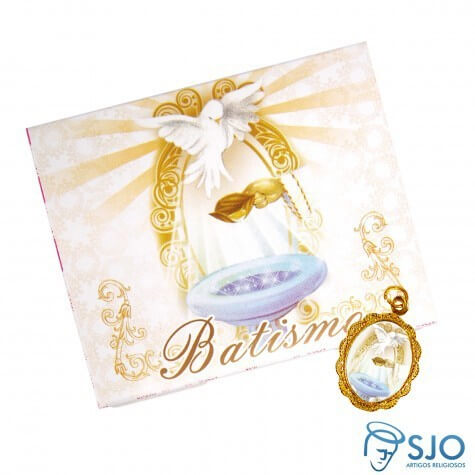 Cartão com Medalha de Batismo | SJO Artigos Religiosos