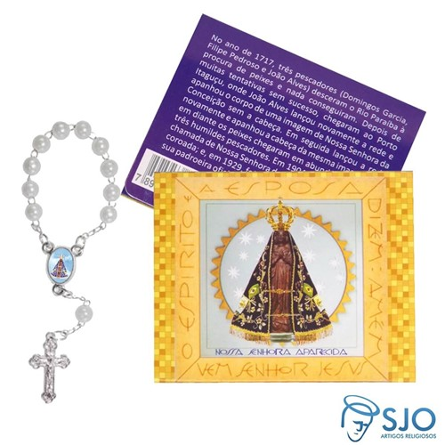 Cartão com Mini Terço de Nossa Senhora Aparecida | SJO Artigos Religiosos