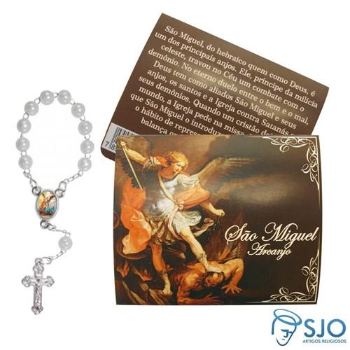 Cartão com Mini Terço de São Miguel | SJO Artigos Religiosos