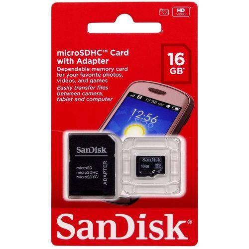 Cartao de Memoria 16gb Sd Micro Sandik C/ Adapt.