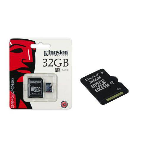 Cartao de Memoria Classe 4 Kingston Sdc4/32gb Micro Sdhc 32gb com Adaptador Sd