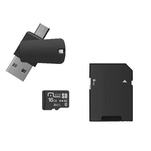 Cartão de Memória com Adaptador Pendrive Dual Otg e Sd 16Gb Multilaser