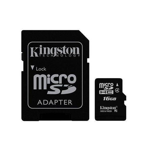 Cartão de Memória Kingston Micro Sdhc 16gb Classe 4 com Adaptador Sd - Sdc4/16gb