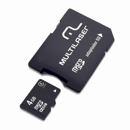 Cartao de Memória Multilaser Micro SD com Adaptador 4GB - MC456 MC456