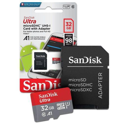 Cartão de Memória SanDisk Micro SD 32GB + Adaptador, Classe 10, Ultra 98MB/s