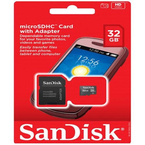 Cartão de Memória Sandisk Microsdhc Card 32gb + Adaptador
