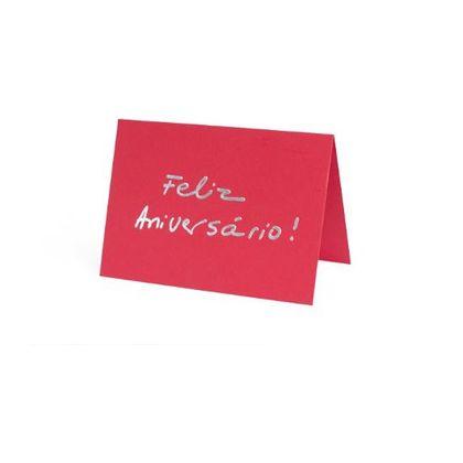 Cartão Fabriano Feliz Aniversário Vermelho Teca Teca