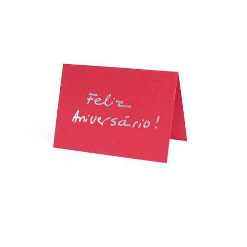 Cartão Fabriano Feliz Aniversário Vermelho Teca