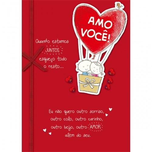 Cartão Handmade Beauty Amor Estampa Balões Casal- Grafon's