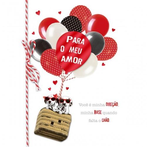 Cartão Handmade Beauty Amor Estampa Dálmatas Balões- Grafon's