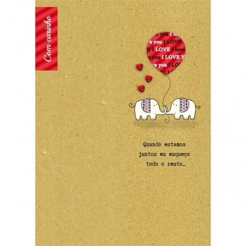 Cartão Handmade Beauty Amor Estampa Elefante- Grafon's