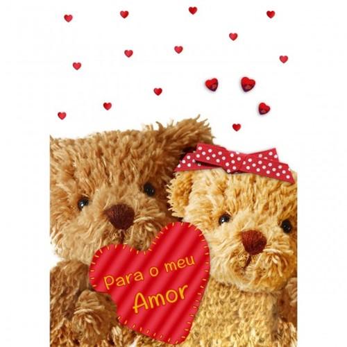Cartão Handmade Beauty Amor Estampa Ursos Coração- Grafon's