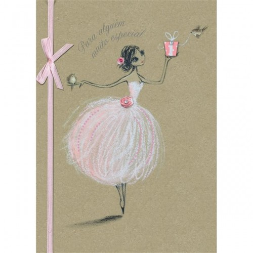 Cartão Handmade Beauty Aniversário Estampa Bailarina- Grafon's