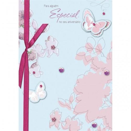 Cartão Handmade Beauty Aniversário Estampa Borboletas - Grafon's
