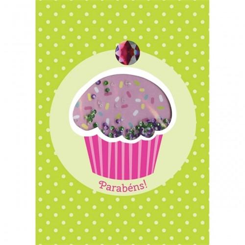 Cartão Handmade Beauty Aniversário Estampa Cupcake- Grafon's