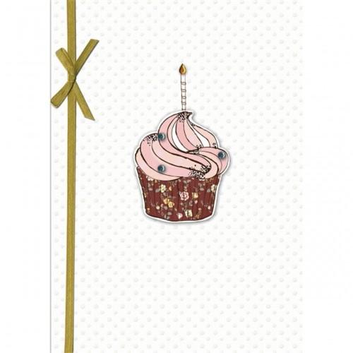 Cartão Handmade Beauty Aniversário Estampa Cupcake Vela - Grafon's
