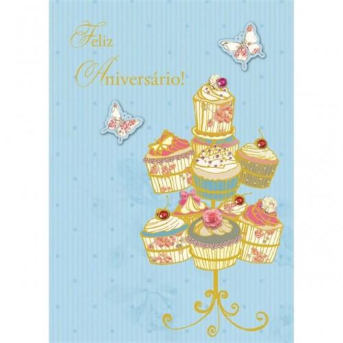 Cartão Handmade Beauty Aniversário Estampa Cupcakes e Borboletas - Grafon's