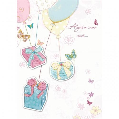 Cartão Handmade Beauty Aniversário Estampa Presente Nos Balões- Grafon's
