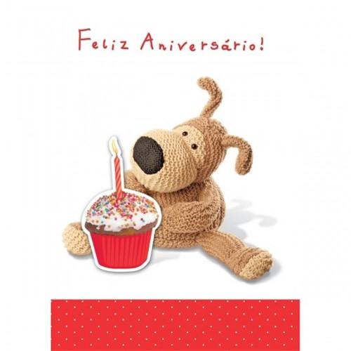 Cartão Handmade Beauty Aniversário Estampa Urso Cupcake- Grafon's