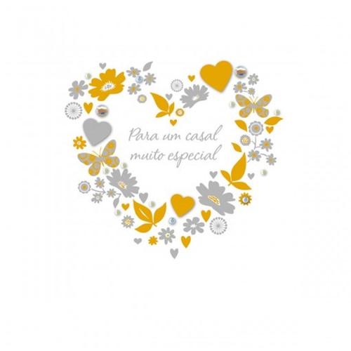 Cartão Handmade Beauty Casamento Estampa Guirlanda Coração - Grafon's