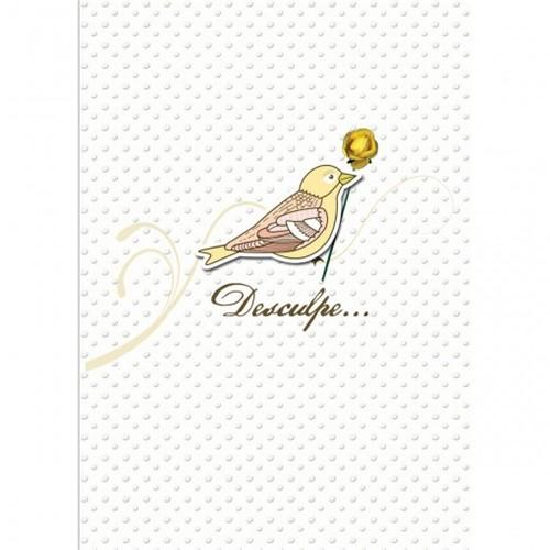Cartão Handmade Beauty Desculpas Estampa Pássaro - Grafon's
