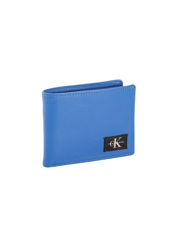 Carteira G Masc Couro e Porta Cartão Ck - Azul Médio - U