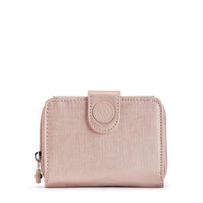 Carteira New Money Rosa Metallic Blush Kipling