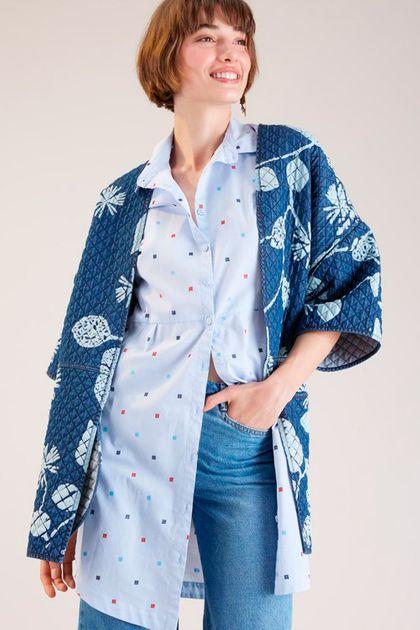 Casacão Cantão Jeans Matelass Estampa Kimon - Azul