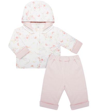 Casaco C/ Capuz e Calça Fofinho para Bebê em Algodão Egípcio Flora - Bibe