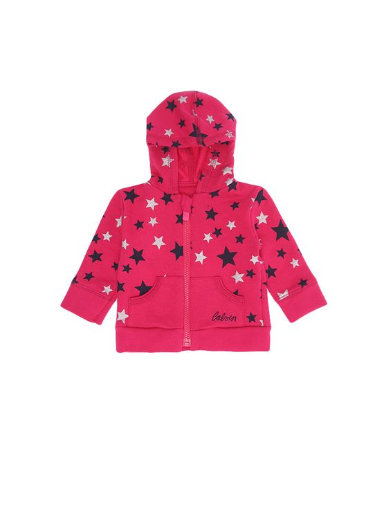Casaco Infantil Calvin Klein Jeans Estampa Estrelas Rosa Escuro - 3M