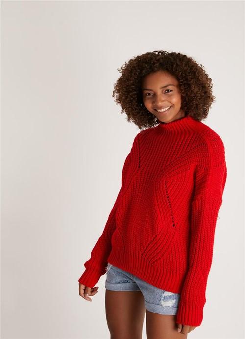 Casaco Liso Trico Gola Alta Vermelho P