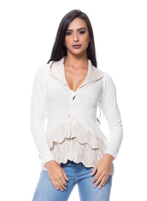 Casaco Mousse Tricot Flowers Off-White
