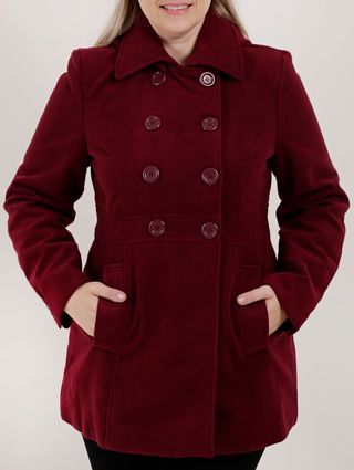 Casaco Trench Coat Plus Size Feminino Bordô