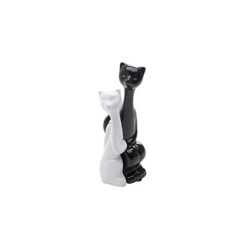 Casal Gatos Amorosos de Cerâmica 19cm