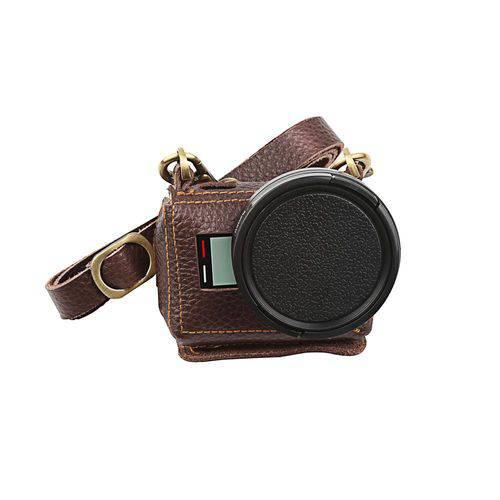Case Retrô Couro Lente Filtro UV 52mm GoPro Hero 5 6 7 Black Cor Marrom