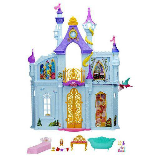 Castelo Casa Palácio Real Gigante com Acessórios e Móveis Princesas Disney - Possui Mais de 90 Centímetros de Altura - Compatível com Boneca Barbie - Hasbro
