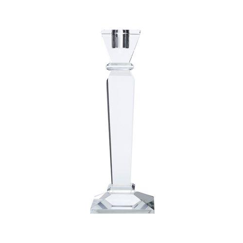 Castiçal de Cristal Óptico Round Design 32x4cm - Prestige