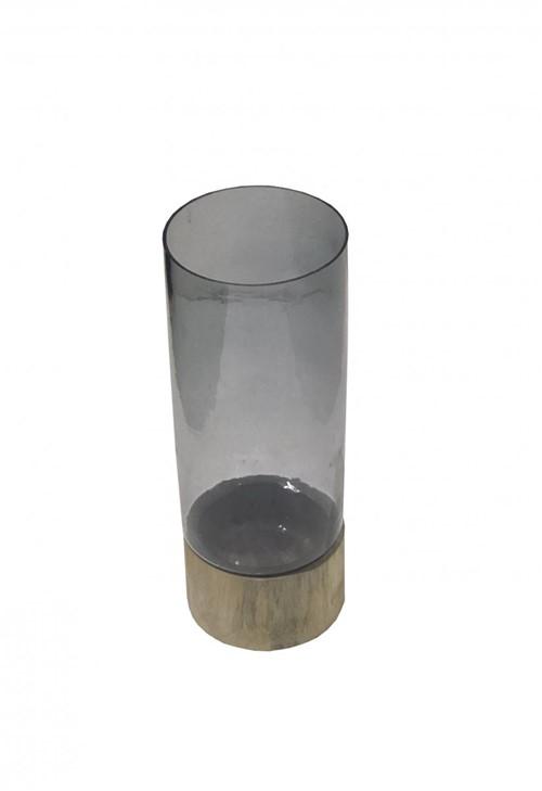 Castiçal Vidro Fume Base Madeira 35cm - Occa Moderna