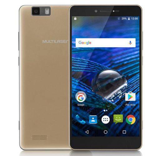 """Celular Multilaser Ms70 P9037 Dourado - 4g, Dual Chip, Tela 5.85"""", 32gb + 32gb Cartão, Câmera 16mp e Frontal 8mp Android 6.0 + 3 Cases Brinde"""
